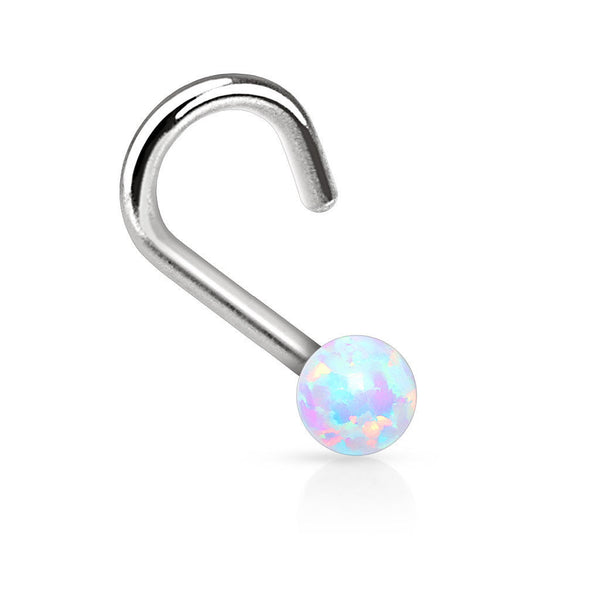 18G Opal Nose Screw - White - seo-img