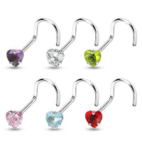 20G Heart Nose Screw with 3mm prong set gem