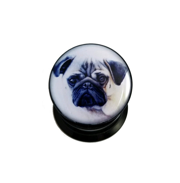 Pug Puppy Acrylic Plugs Dog - Sold by the pair - seo-img