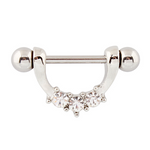 14G Nipple Stirrup with 3 Clear Gems - seo-img