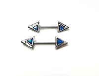 PAIR Aqua opal arrowhead end nipple bars - seo-img