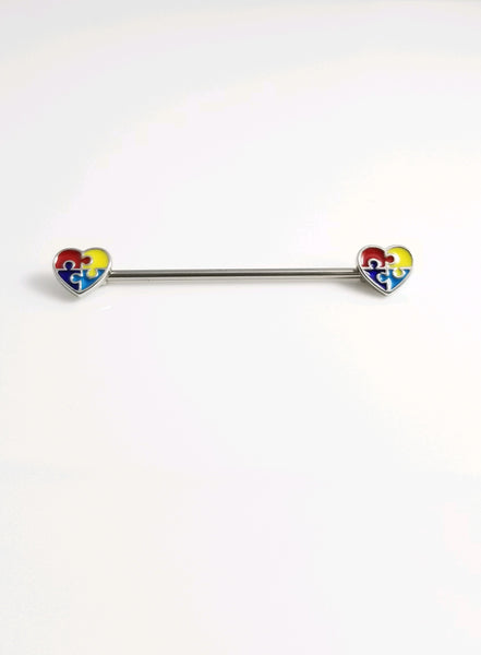 Autism Puzzle Piece Hearts Ends Industrial Barbell - seo-img