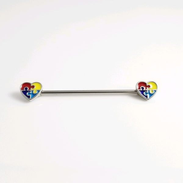 Autism Puzzle Piece Hearts Ends Industrial Barbell