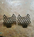 Pair beehive ear weights, hoop earrings