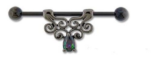 14G Black PVD filigree Industrial Barbell w FREE extras - seo-img