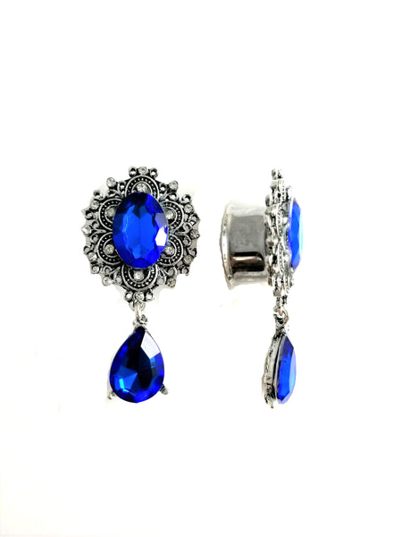 Blue Faceted Gem Dangle Filigree Stainless Steel Plugs - seo-img
