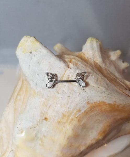 Butterfly Nipple Rings with white opal wing adornment - sold as a pair - seo-img
