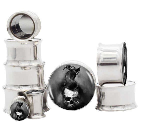 Cat on Skull Stainless Steel Double Flare Plugs - seo-img