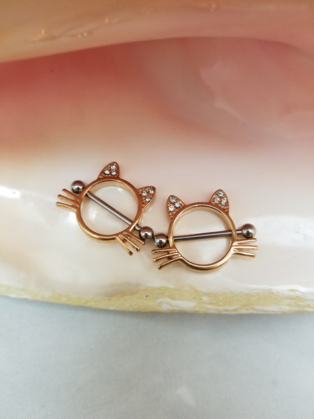 PAIR Rose Gold Cat with clear CZ ears Stainless Steel Nipple Shield