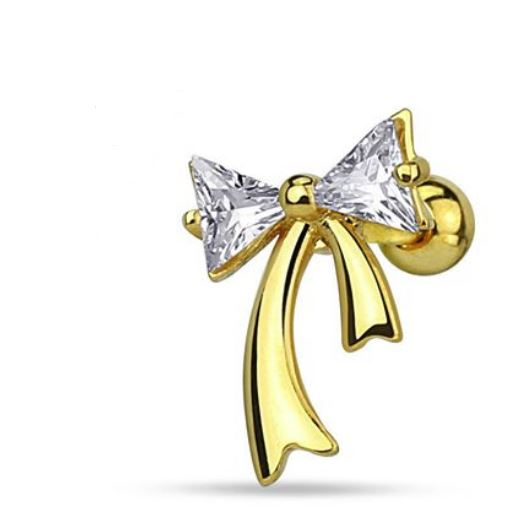 16G 14k Gold Bow Cartilage Barbell - seo-img