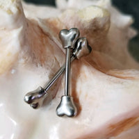 14G Dog bone ends nipple bar body piercing jewelry