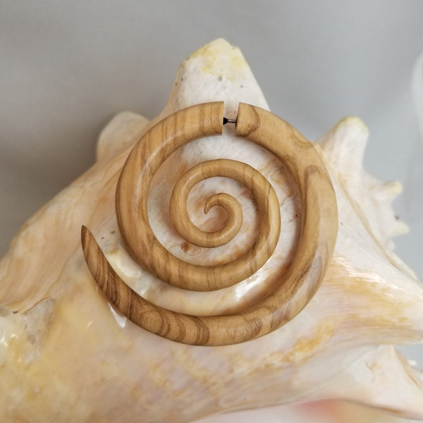 Olive Wood Double Spiral Large Earrings Fake Plugs 18G - Sold as a pair