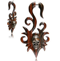 Narra Wood Skull Earrings Fake Plugs 18G - Sold as a pair - seo-img