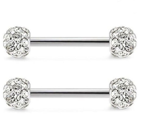 Clear Ferido Ball Ends Nipple Bar Disco Shamballa (Sold as pair) - seo-img
