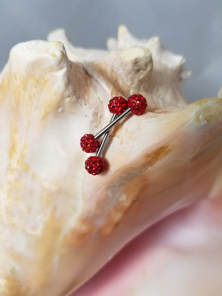 Red Ferido Ball Ends Nipple Bar Disco Shamballa (Sold as pair) - seo-img