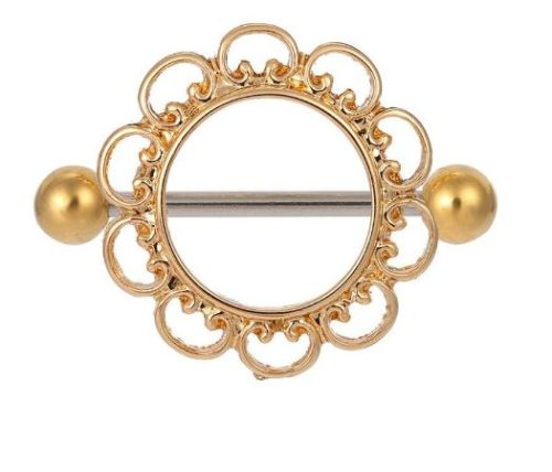 14G Gold Tone Flower Nipple Shield - seo-img