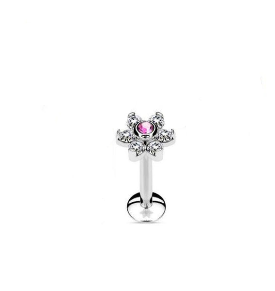 16G Flower labret with clear and pink CZ gems - Internally threaded - surgical steel