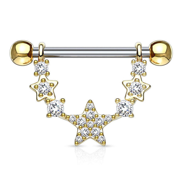 PAIR Gold Plated Clear Gem Star Nipple Stirrup Jewelry - seo-img