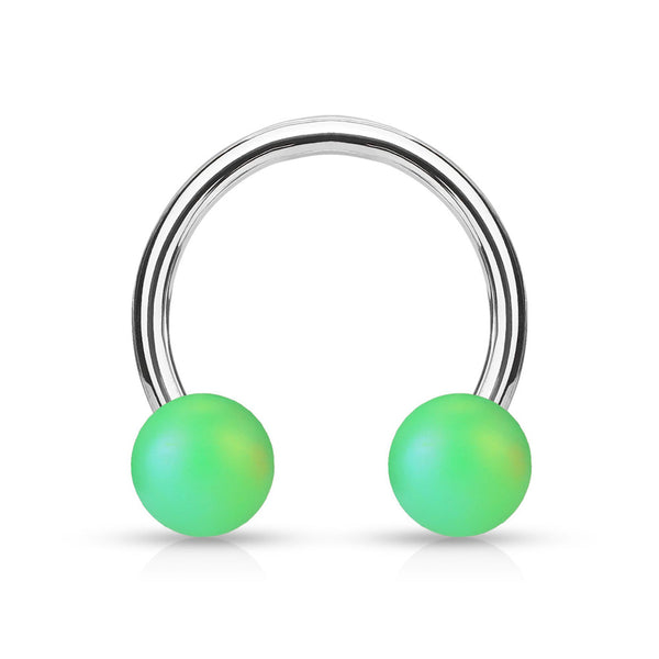 16G Green Matte Pearlized Ball Ends Horseshoe - Stainless Steel - seo-img