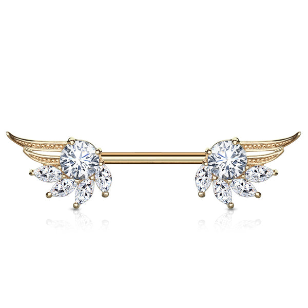 14G Rose Gold Clear Cubic Zirconia Wing Ends Nipple Bar (Sold as a Pair)