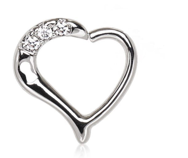 16G Clear Gem Heart with Keyhole Cartilage Ring - seo-img