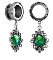 Green Mermaid Scale Design Stainless Steel Tunnel - Sold as a pair - seo-img