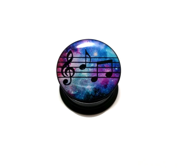 Music Notes Galaxy Acrylic Plugs 2G - 1 inch - seo-img