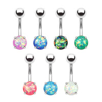 Opal Glitter Belly Ring in Stainless Steel - seo-img