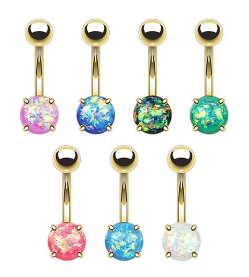 Opal Glitter Belly Ring - 14k Gold Plated Stainless Steel - seo-img