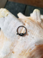 16G Ornate Captive Bead Ring or Septum Ring with Clear CZ - seo-img