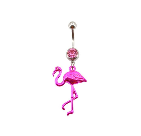 14G Pink Flamingo Dangle Belly Ring - seo-img