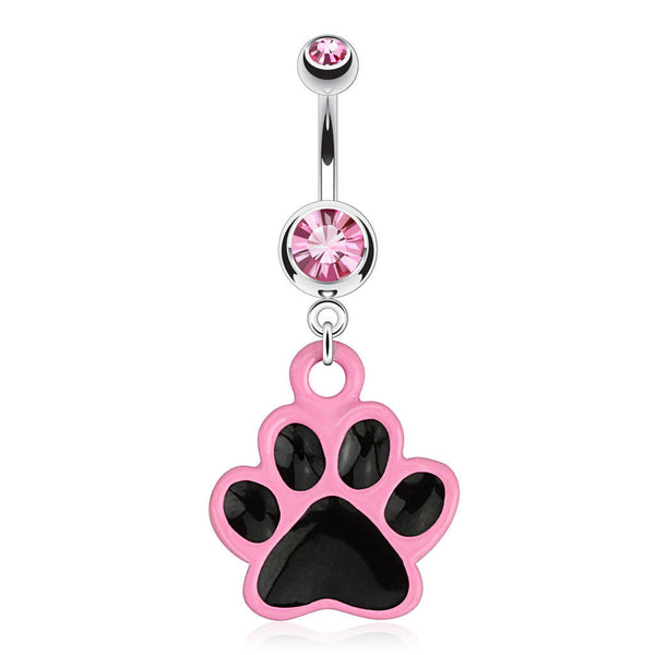 Pink Paw Print Belly Ring - seo-img