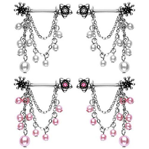 Pink or White Dangling Beads Flower Nipple Bars - seo-img