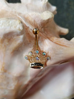 Gold plated Princess crown belly ring - non dangle - seo-img
