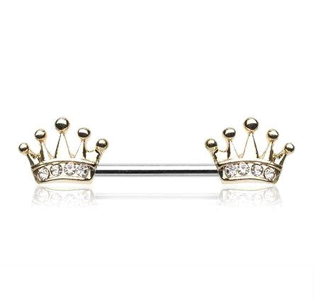 Gold Crown Nipple Bars with Clear Gems - seo-img