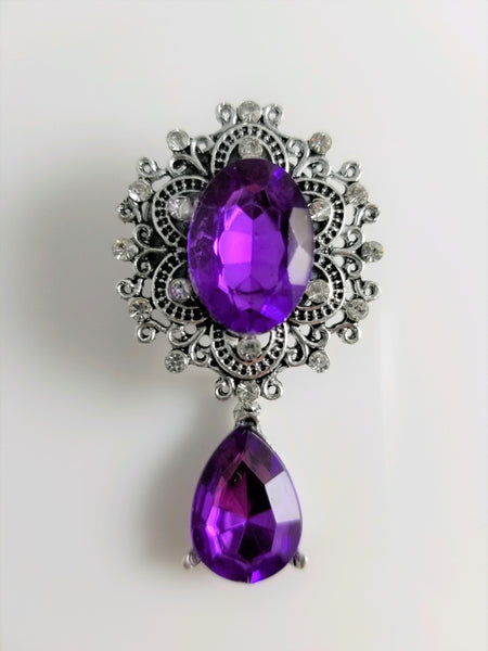 Purple Faceted Gem Dangle Filigree Stainless Steel Plugs - seo-img