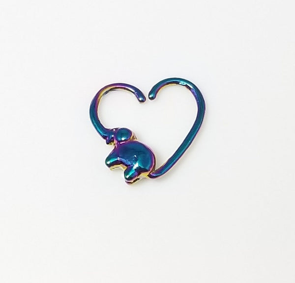 18G Heart with Elephant Seamless Ring - Rainbow - RIGHT EAR ONLY - seo-img