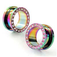 Rainbow Titanium Tunnels with Clear Gems - seo-img