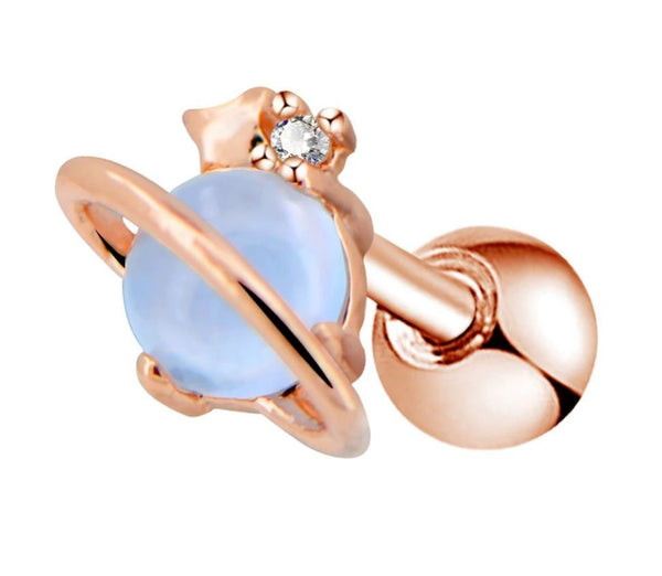 16G Rose gold plated Saturn with synthetic blue opal Cartilage/Tragus (Sold individually) - seo-img