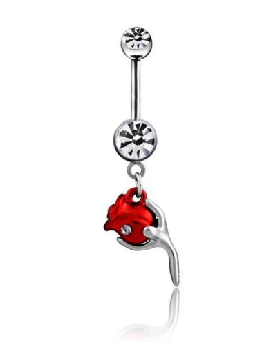 Red Rose Dangle Belly Ring - seo-img