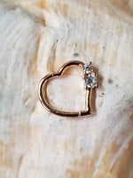 16G Rose Gold Heart Daith Tragus Earring with Clear CZ gems - seo-img