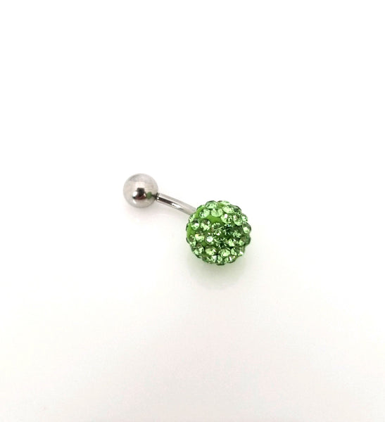 14G Green Ferido Ball Belly Ring - Shamballa - Sold individually - seo-img