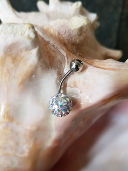 14G Aurora Borealis Ferido Ball Belly Ring - Shamballa - Sold individually - seo-img