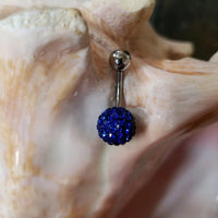 14G Dark Blue Ferido Ball Belly Ring - Shamballa - Sold individually - seo-img