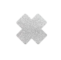 Pair Silver Glitter Cross or X Pasties