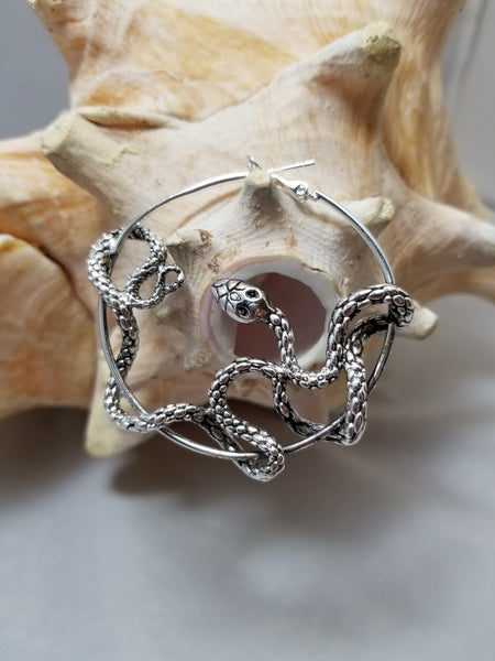 Pair Stainless coiling snake light ear weights, hoop earrings