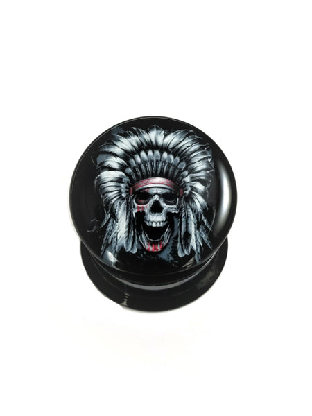Skull with Feather Headdress Acrylic Plugs - seo-img
