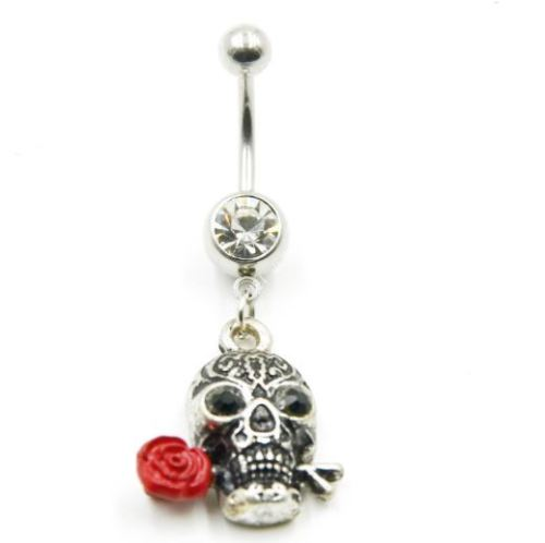 Skull with Rose Belly Ring - seo-img