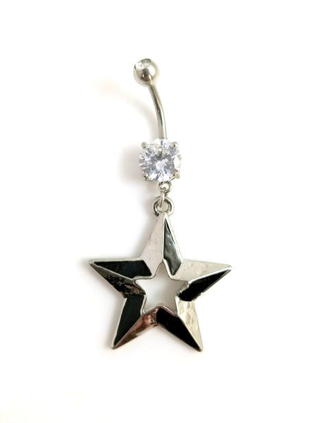 14G Star Belly Ring with Clear Gem - seo-img