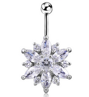 Clear Gem Flower Belly Ring - seo-img